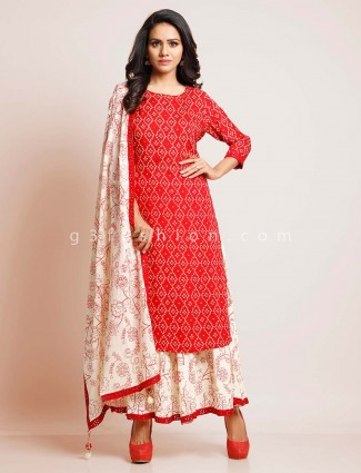 Red cotton printed palazzo suit