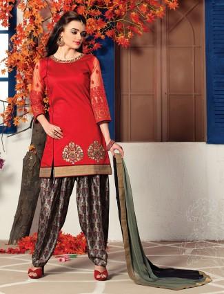 Red cotton silk simple salwar suit