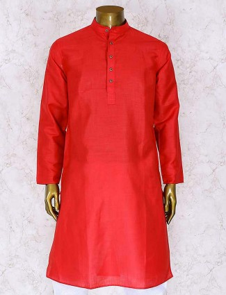 Red cotton silk wedding kurta suit