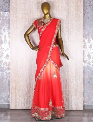 Red cream georgette designer lehnega choli