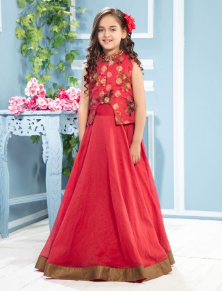 Red designer jacket style anarkali suit in tissue silk