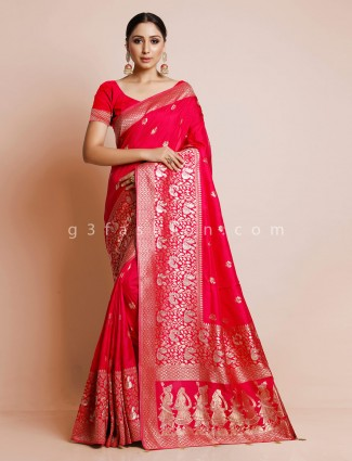 Red dola silk saree for wedding functions