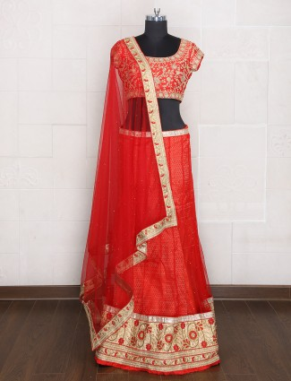 Red festive wear net unstitched lehenga choli