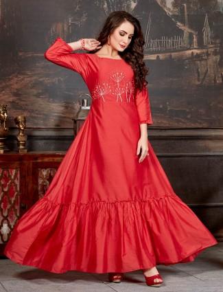 Red festive wear round neck cotton silk kurti