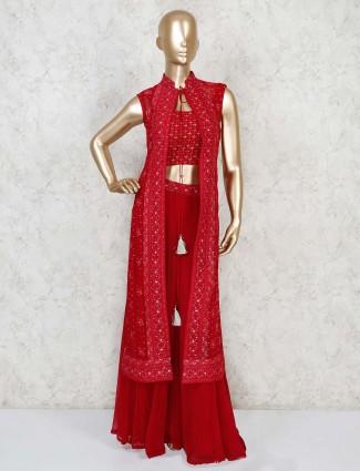 Red georgette designer indo western party wear sharara suit