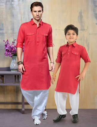 Red hue cotton fabric father son pathani suit