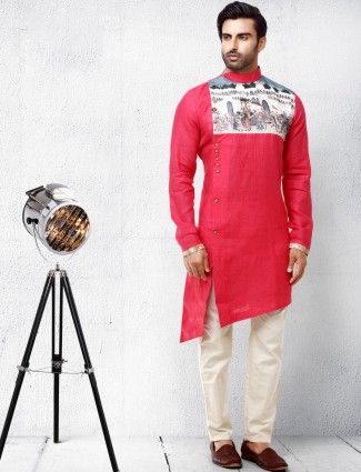 Red hue cotton silk festive wear kurta suit
