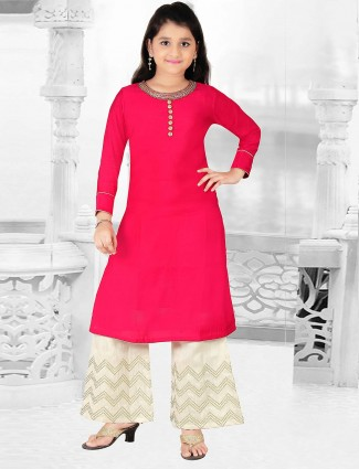 Red hue cotton silk punjabi palazzo suit