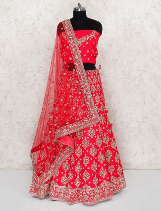 Red hue silk fabric bridal semi stitched lehenga choli