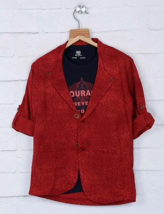 Red hue solid terry rayon fabric blazer
