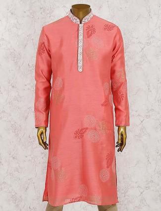Red hued cotton silk solid mens kurta suit