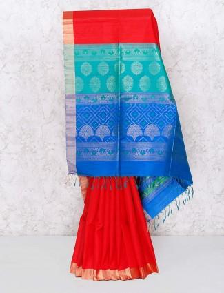 Red hued wedding wear semi silk saree
