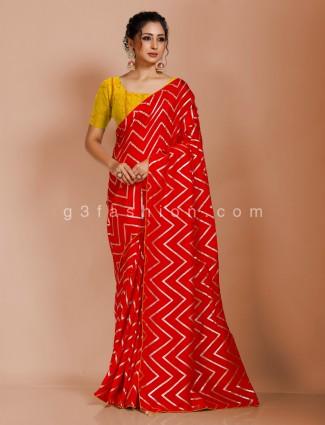 Red leheriya style dola silk saree