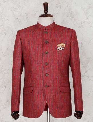 Red linen solid jodhpuri suit