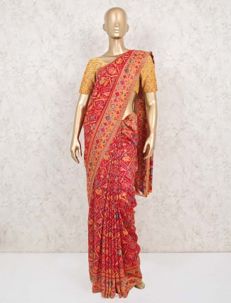 Red pashmina patola silk saree