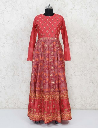 Red printed anarkali suit in cotton silk