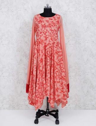 Red printed cotton fabric long punjabi suit