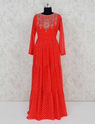 Red printed design georgette salwar suit