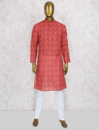 Red printed wedding festive wear kurta suit