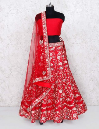 Red raw silk bridal wear semi stitched lehenga choli