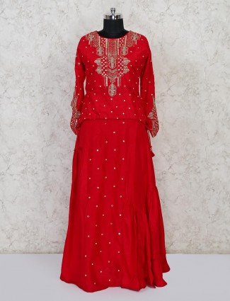 Red raw silk peplum lehenga choli for wedding