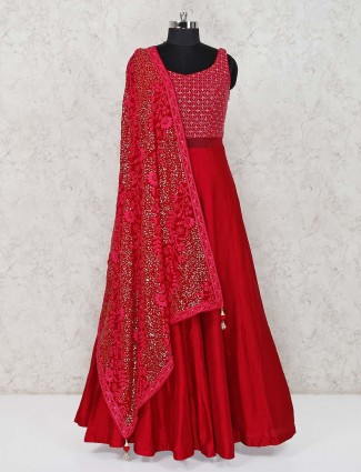 Red raw silk wedding function anarkali suit