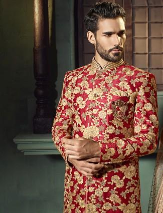 Red raw silk wedding wear indo western