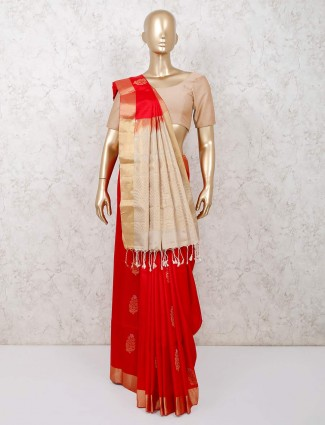 Red saree for wedding in south pure silk