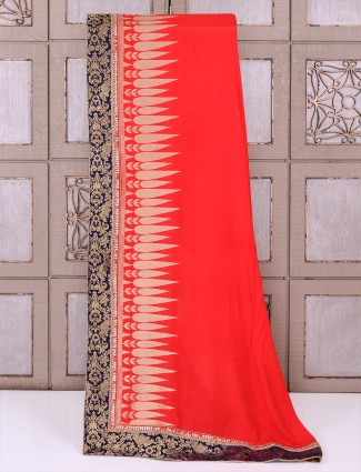 Red silk fabric wedding wear saree