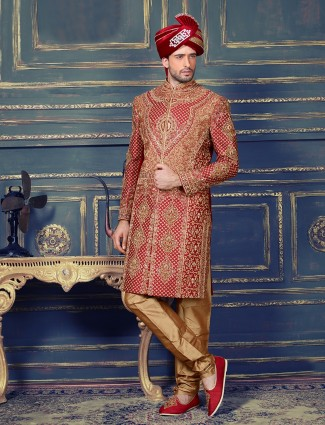 Red silk indo western