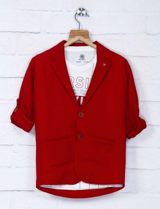 Red solid cotton fabric blazer