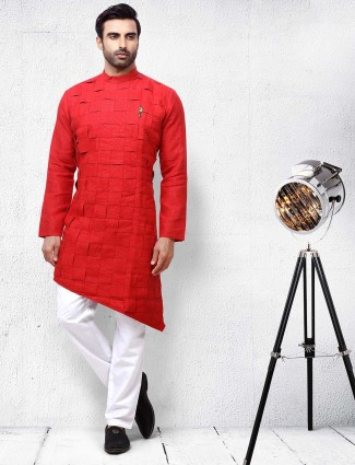 Red solid designer cotton kurta suit