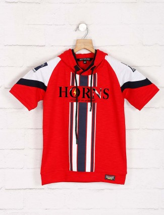 Red Sound red stripe slim fit t-shirt