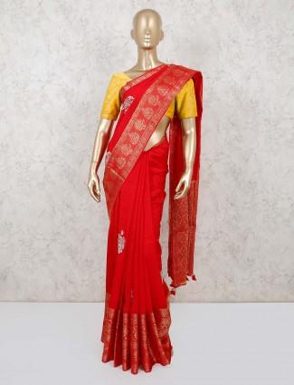 Red stone motif silk saree for wedding