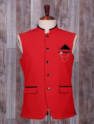 Red terry rayon festive wear waistcoat