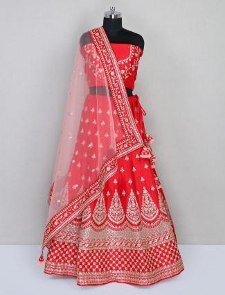 Red unstitched raw silk lehenga for wedding