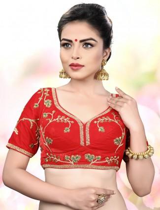 Red velvet fabric ready made blouse