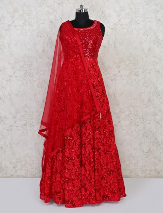Red wedding function georgette gown