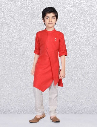 Red wedding function kurta suit