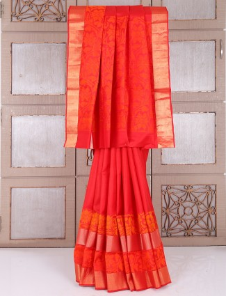 Red wedding south silk saree