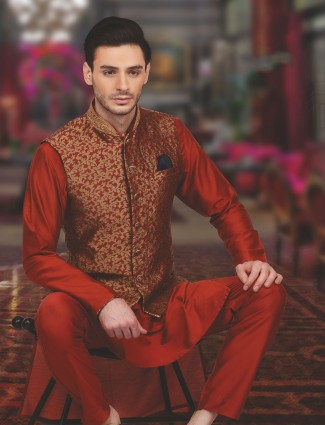 Reddish maroon wedding wear silk waistcoat set