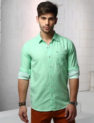 Relay cotton green solid shirt