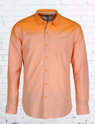 Relay plain cotton slim fit peach shirt