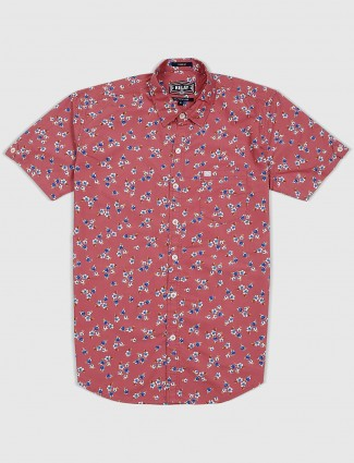 Relay printed peach color slim fit shirt