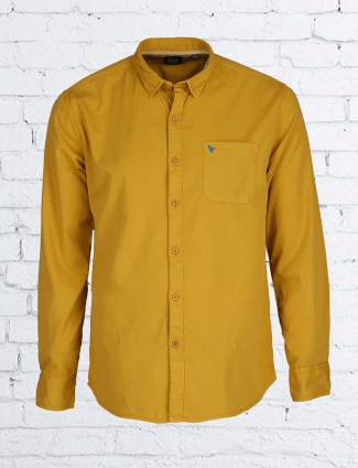 Relay solid cotton yellow shirt