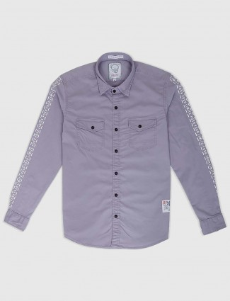 Relay solid grey slim fit shirt