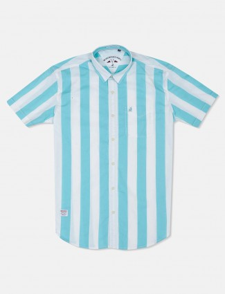 River Blue aqua and white stripe shirt