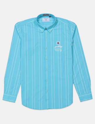 River Blue aqua stripe cotton shirt