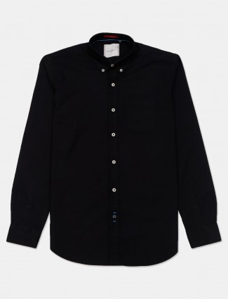 River Blue black casual buttoned down solid shirt