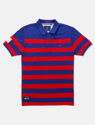 River Blue blue and red stripe casual t-shirt